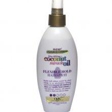 اسپری روغن نارگیل اوجی ایکس حالت دهنده و برطرف کننده وز  ogx coconut miracle oil flexible hold hair spray